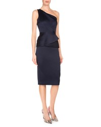 Roland Mouret One Shoulder Double Face Satin Dress Navy