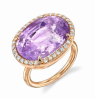 Irene Neuwirth One Of A Kind 18K Rose Gold Ring With Un Heated Pink Sapphire 18.6 Cts And Diamond Pave .4Cts Multi