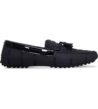 Swims Tasselled Croc Embossed Leather And Rubber Loafers Black