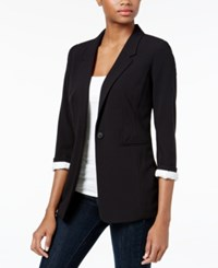 Kensie Three Quarter Sleeve Crepe Blazer Black