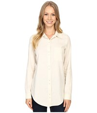 Lilla P Shirting Long Sleeve Button Down Tunic Oatmeal Women's Blouse Brown