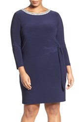 Marina Plus Size Women's Embellished Neck Side Tie Jersey Dress