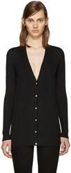 Versace Black Wool Ribbed Cardigan