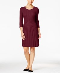 Ny Collection Petite Ribbed Fit And Flare Sweater Dress Royal Ruby