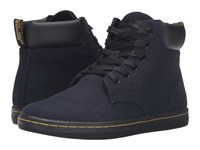 Dr. Martens Maelly Padded Collar Boot Navy Overdyed Twill Canvas Women's Lace Up Boots Black