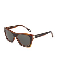 Givenchy Faceted Plastic Rectangle Sunglasses Black Havana