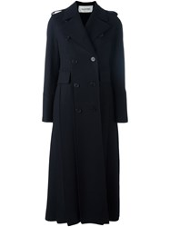Valentino Long Double Breasted Coat Blue
