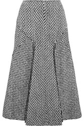 Joseph Louie Fringed Herringbone Wool Blend Midi Skirt Gray