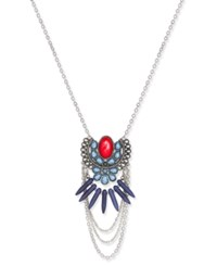 Macy's Silver Tone Multi Stone Red And Blue Pendant Necklace