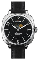 Shinola 'Gomelsky' Square Moon Phase Leather Strap Watch 36Mm Black