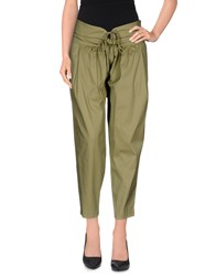 Annarita N. Trousers 3 4 Length Trousers Women Military Green
