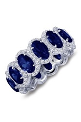 Platinum Plated Sterling Silver Oval Blue Sapphire Simulated Diamond Eternity Ring