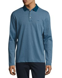 Michael Kors Long Sleeve Cotton Polo Shirt Storm Blue