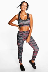 Boohoo Camo Print Sports Crop Running Legging Set Multi