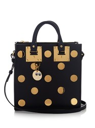 Sophie Hulme Square Albion Polka Dot Embellished Leather Tote Navy Gold