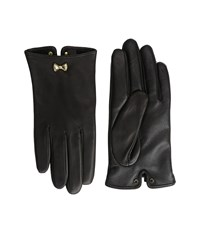 Ted Baker Avia Bow Wrist Detail Leather Gloves Black Extreme Cold Weather Gloves