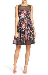Aidan Mattox Women's By Embroidered Mesh Fit And Flare Dress Pink Multi