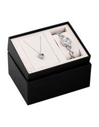 Bulova Stainless Steel Crystal Heart Watch And Necklace Box Set 96X136 Silver