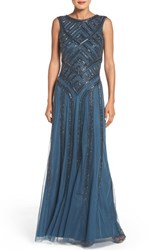 Aidan Mattox Women's Beaded Mesh Gown Riviera
