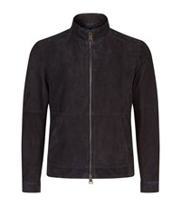 Pal Zileri Suede Bomber Jacket Male Navy