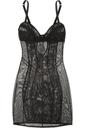 Agent Provocateur Fara Zip Detailed Stretch Tulle Chemise Black