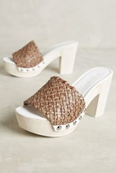 Anthropologie Sandro Rosi Isa Woven Clogs Grey 40 Euro Wedges