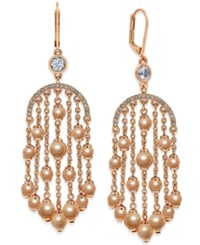 Kate Spade New York Rose Gold Tone Imitation Pearl Chandelier Earrings
