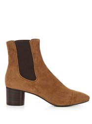 Isabel Marant Danae Block Heel Suede Ankle Boots Tan