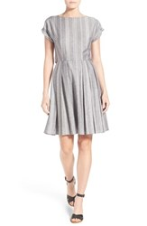 Women's Halogen Back Bodice Overlay Cotton Fit And Flare Dress Grey White Stripe