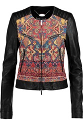 Just Cavalli Paneled Leather Biker Jacket
