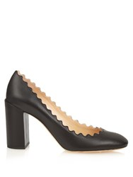 Chloe Lauren Scalloped Edge Block Heel Leather Pumps Black