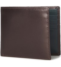 Launer Bifold Leather Wallet Brown Green