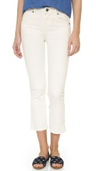 Paige Colette Crop Flare Jeans Distressed Ivory Mist