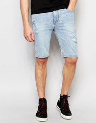 Asos Super Skinny Denim Shorts In Lightwash Blue With Rip And Repair Light Blue