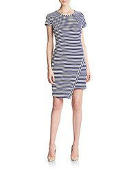 Eci Striped Asymmetrical Hem Dress Navy White