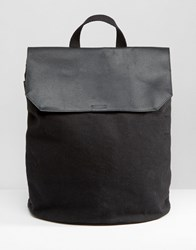 Asos Backpack In Canvas With Leather Top Black