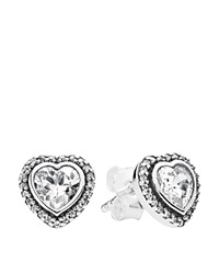 Pandora Design Pandora Earrings Sterling Silver And Cubic Zirconia Sparkling Love Studs