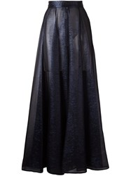 Michel Klein Sheer Pleated Maxi Skirt Blue
