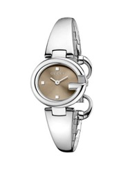 Guccissima Stainless Steel Bangle Bracelet Watch Brown Silver