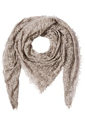 Zadig And Voltaire Printed Scarf With Wool Beige