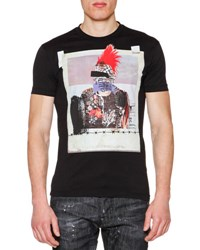 Dsquared Graphic Print Short Sleeve Jersey Tee Black