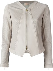 Tory Burch 'Nicki' Perforated Panel Detail Jacket Pink And Purple