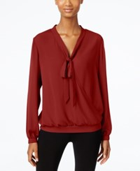 Ny Collection Tie Neck Faux Wrap Top Burgundy