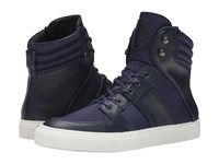 The Kooples Sport Leather And Nylon Sneaker Navy Men's Lace Up Casual Shoes
