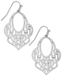 Vera Bradley Signature Contoured Filigree Drop Earrings Silver