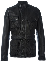 Belstaff Belted Leather Jacket Black