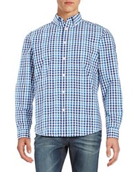 Black Brown Two Tone Gingham Laundered Sportshirt Periwinkle