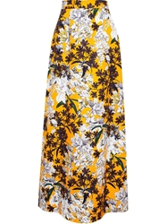 Msgm Long Floral Skirt Yellow And Orange