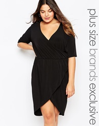 Pink Clove Plunge Front Wrap Dress Black