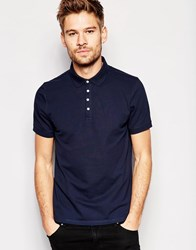 Selected Homme Polo Shirt With Snaps Navy